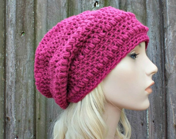 Orchid Pink Crochet Hat Pink Hat Pink Beanie Womens Hat - Penelope Puff Stitch Slouchy Beanie Hat - Pink Winter Hat - READY TO SHIP
