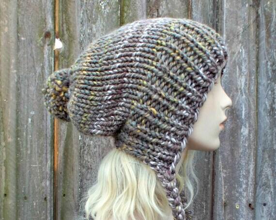 Chunky Knit Hat Womens Urban Camo Taupe Slouchy Pom Pom Hat - Ear Flap Beanie Braided Ties Warm Winter Hat - Charlotte - READY TO SHIP