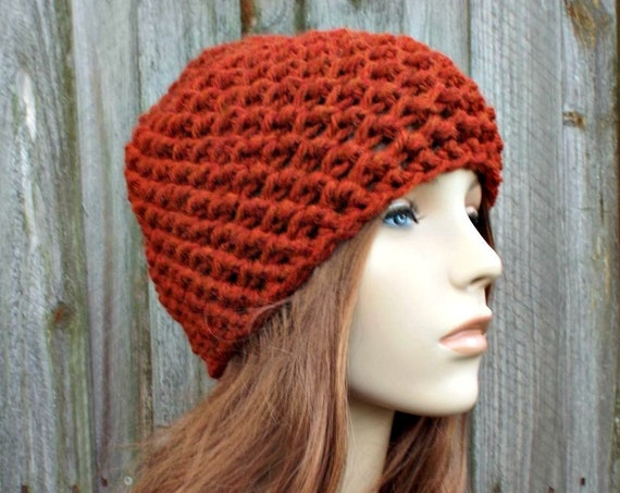 Honeycomb Beanie in Spice Burnt Orange Rust Crochet Hat Rust Womens Hat Rust Mens Hat - Rust Beanie Warm Winter Hat - READY TO SHIP
