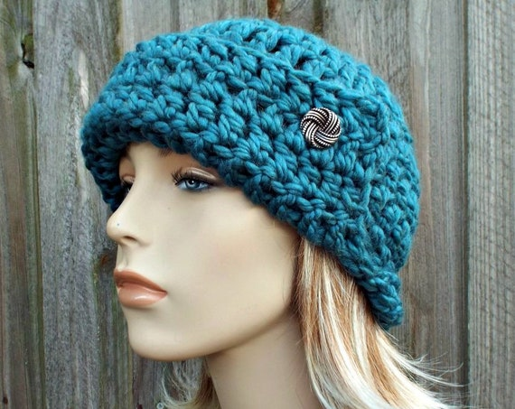 Teal Blue Crochet Hat Womens Flapper Hat - Garbo Cloche Hat - Teal Hat Teal Beanie Blue Hat Blue Beanie Winter Hat - READY TO SHIP