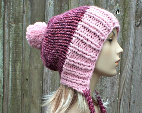Strawberry Blossom Womens Pom Pom Hat - Pink Hat Pink Ear Flap Hat Pink Slouchy Beanie Pink Beanie Pink Winter Hat