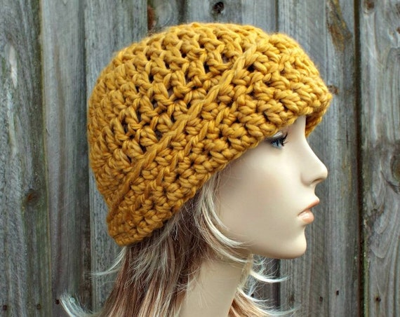 Crochet Hat Womens Hat Flapper Hat - Garbo Cloche Hat - Golden Rod Yellow Hat Yellow Beanie Yellow Cloche Winter Hat - READY TO SHIP