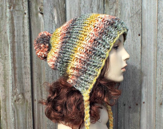 Rainbow Slouchy Hat Womens Hat - Coney Island Rainbow Hat Rainow Beanie Rainbow Slouchy Beanie - Charlotte Multi Color Slouchy Ear Flap Hat