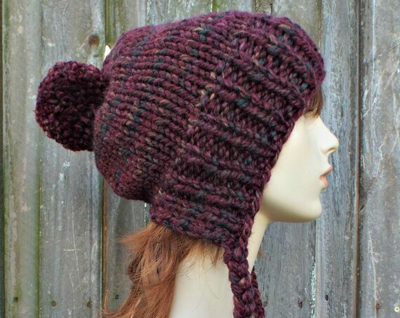 Dark Red Chunky Knit Hat Womens Spiced Apple Pom Pom Hat - Slouchy Ear Flap Beanie Braided Ties Warm Winter Hat - Charlotte