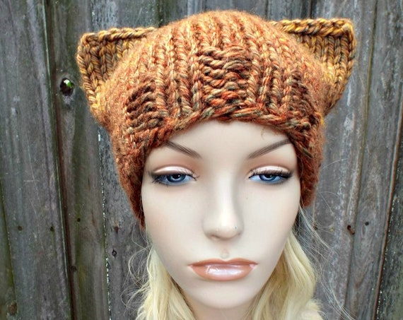 Brown Cat Hat Womens Hat - Brown Pussy Hat Brown Knit Hat Brown Hat Brown Pussyhat Hat Womens Chunky Knit Winter Hat - READY TO SHIP