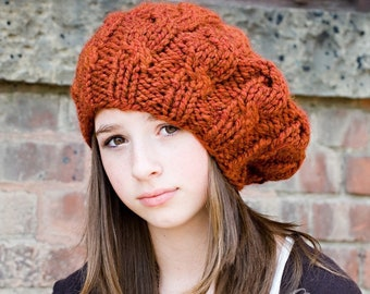 3be04b98 Womens Chunky Knit Hat - Spice Rust Burnt Orange Cable Beret - Fall Fashion  Warm Winter Hat Knit Accessories