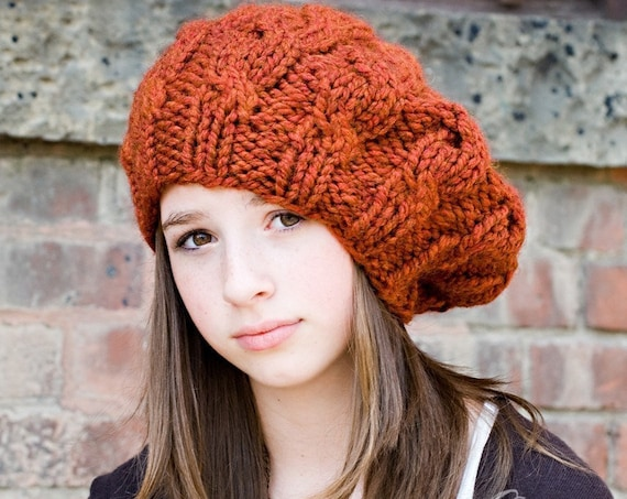 Womens Chunky Knit Hat - Spice Rust Burnt Orange Cable Beret - Fall Fashion Warm Winter Hat Knit Accessories