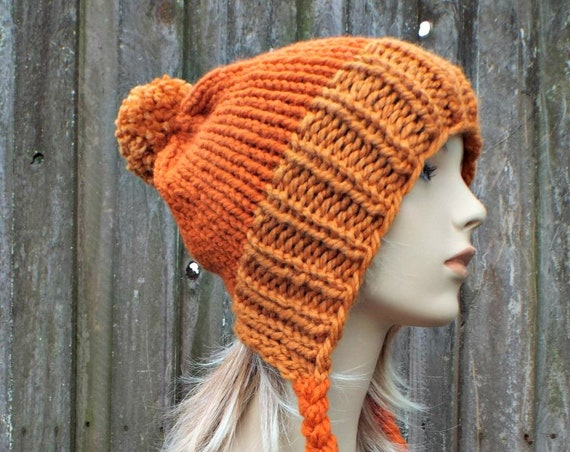 Chunky Knit Hat Womens Orange Pom Pom Hat - Slouchy Ear Flap Beanie With Braided Ties Warm Winter Hat - Charlotte - READY TO SHIP