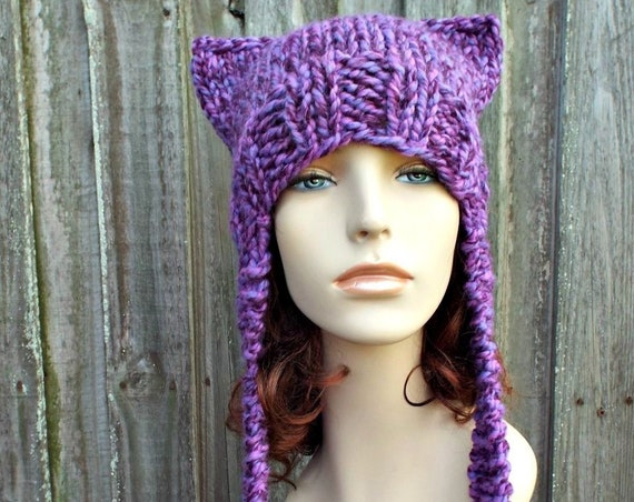 Grape Mixed Purple Knit Hat Purple Womens Hat - Purple Ear Flap Hat - Purple Cat Hat Purple Hat - Ear Hat Purple Winter Hat Purple Pussyhat