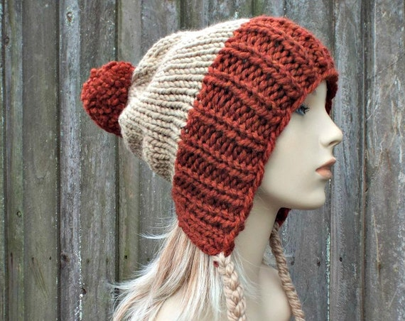 Chunky Knit Hat Womens Brown and Rust Pom Pom Hat - Slouchy Ear Flap Beanie With Braided Ties Warm Winter Hat - Charlotte - READY TO SHIP