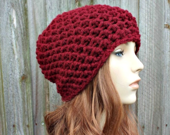 Honeycomb Beanie in Mulberry Red Crochet Hat Red Womens Hat Red Mens Hat - Red Beanie Warm Winter Hat - READY TO SHIP
