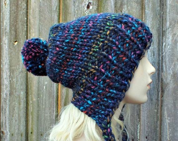 Chunky Knit Hat Womens City Lights Rainbow Slouchy Pom Pom Hat - Ear Flap Beanie Braided Ties Winter Hat - Charlotte