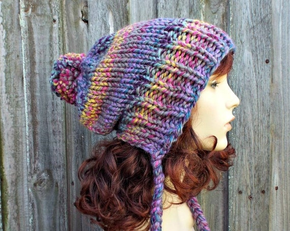 Rainbow Slouchy Hat Womens Hat - Astroland Rainbow Hat Rainow Beanie Rainbow Slouchy Beanie - Charlotte Multi Color Slouchy Ear Flap Hat