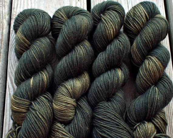 Hand Dyed Yarn - Hand Dyed DK Weight Yarn 100% Superwash Merino Yarn 4 Ply - Olive Tonal Yarn Semisolid Olive Yarn Drab Green - Tuscan Olive