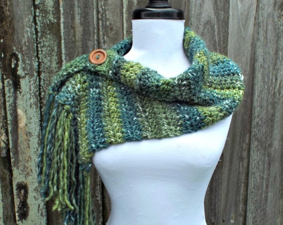 Moss Green Cowl Scarf - Scarflette Cowl - Winter Cowl Green Scarf Womens Scarf Womens Cowl Crochet Accessories - READY TO SHIP