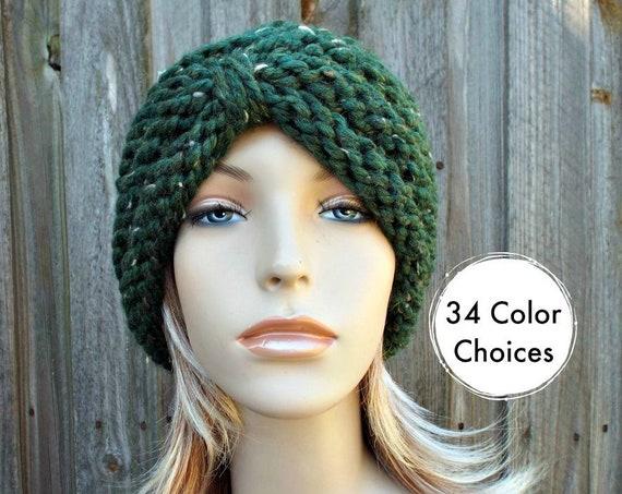 Kale Green Knit Hat Womens Hat - Green Turban Hat Green Beanie Green Winter Hat Tweed Green Hat