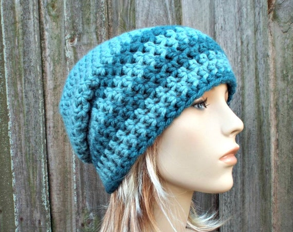 Striped Blue Crochet Hat Womens Hat - One of a Kind Remnant Slouchy Striped Beanie Hat Crochet Hat Winter Accessories - READY TO SHIP