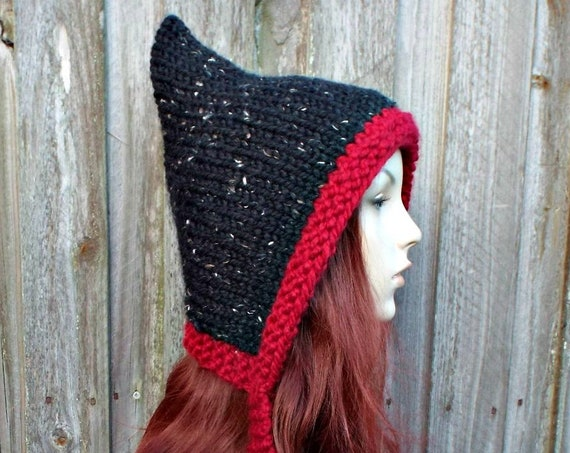 Chunky Knit Womens Hat Adult Pixie Hat - Red and Black Pixie Ear Flap Hat - Red and Black Winter Hat Black Hat - Red Pixie Hat