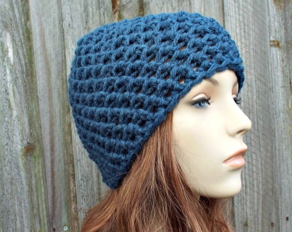 Honeycomb Beanie in Bluebell Blue Crochet Hat Blue Womens Hat Blue Mens Hat - Blue Beanie Warm Winter Hat - READY TO SHIP