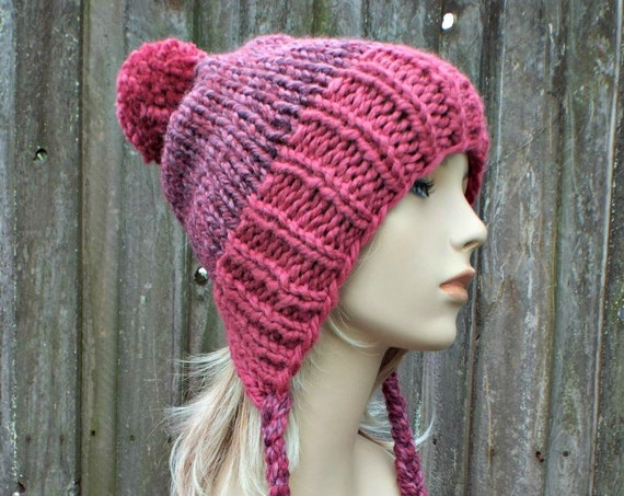Chunky Knit Hat Womens Pink Pom Pom Hat - Slouchy Ear Flap Beanie With Braided Ties Warm Winter Hat - Charlotte - READY TO SHIP
