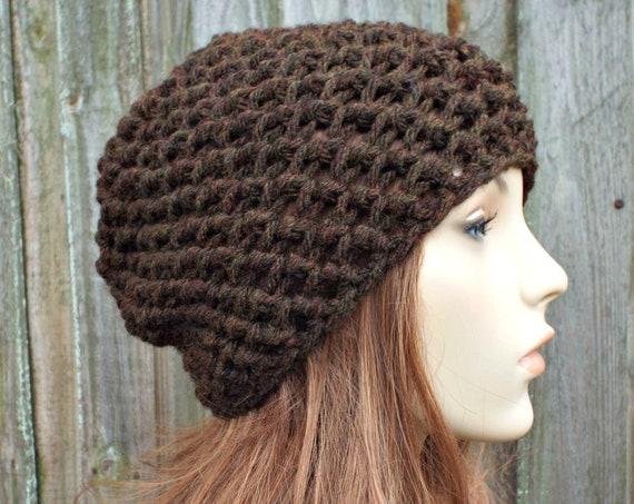 Honeycomb Beanie in Walnut Brown - Brown Crochet Hat Brown Womens Hat Brown Mens Hat - Brown Beanie Warm Winter Hat - READY TO SHIP
