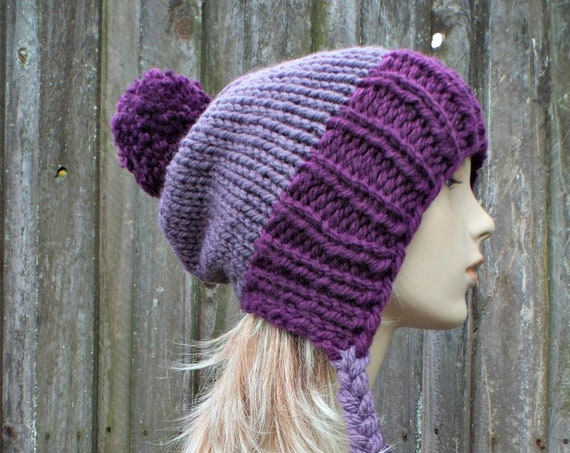 Chunky Knit Hat Womens Purple Pom Pom Hat - Slouchy Ear Flap Beanie With Braided Ties Warm Winter Hat - Charlotte - READY TO SHIP