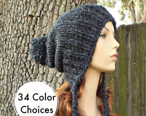 Womens Pom Pom Hat - Charcoal Grey Hat Grey Ear Flap Hat Grey Slouchy Beanie - Charlotte - Knit Accessories