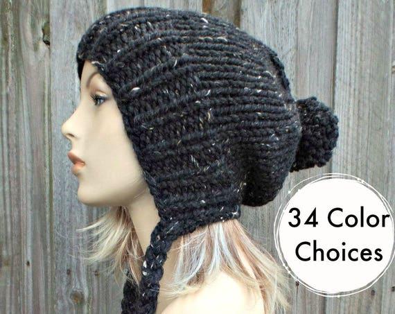 Tweed Obsidian Black Slouchy Hat Knit Hat Womens Hat Black Hat Black Slouchy Beanie - Charlotte Ear Flap Hat - Winter Hat