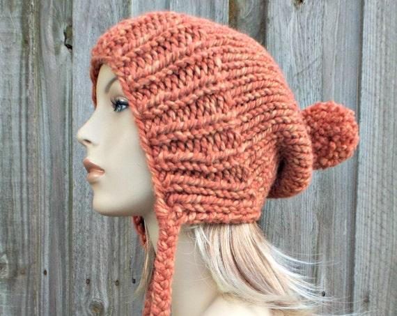 Tangerine Muted Orange Slouchy Ear Flap Hat With Pom Pom - Knit Womens Winter Beanie - Charlotte