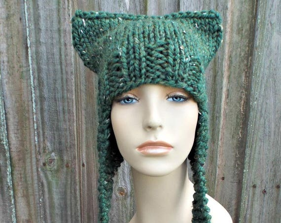 Kale Tweed Green Cat Hat Womens Hat - Green Knit Hat - Green Hat Green Ear Flap Hat Winter Hat Pussyhat Pussy Hat