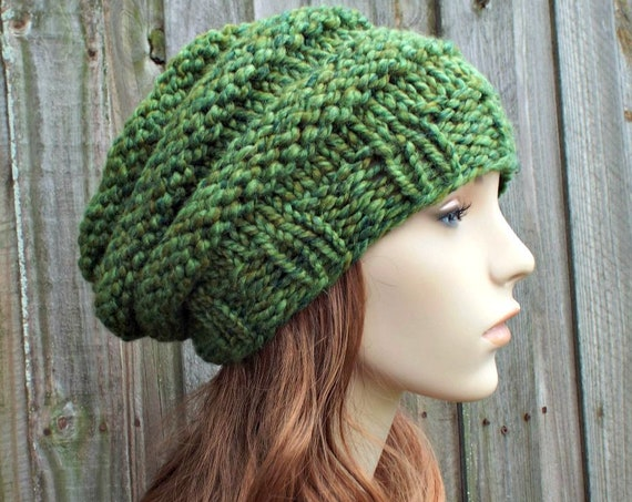 Chunky Knit Hat Womens Slouchy Beanie - Beehive Beret Spearmint Green Knit Hat - Green Hat Green Beret Green Beanie - READY TO SHIP