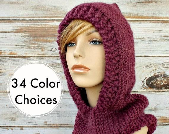 Fig Purple Knit Hat Womens Hat Purple Knit Hood Purple - Purple Hooded Cowl Purple Cowl Purple Hood Purple Hat