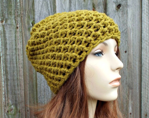 Honeycomb Beanie in Moss Green - Green Crochet Hat Green Womens Hat Green Mens Hat - Green Beanie Warm Winter Hat - READY TO SHIP