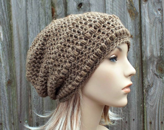 Crochet Hat Womens Hat - Penelope Puff Stitch Slouchy Beanie Hat in Camel Brown - Womens Accessories Winter Hat