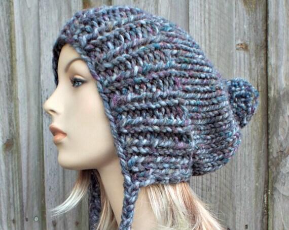 Abalone Grey Slouchy Hat Grey Knit Hat Grey Womens Hat Grey Hat Grey Beanie - Charlotte Slouchy Ear Flap Hat