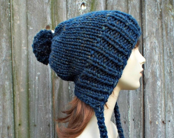 Womens Pom Pom Hat Blue Spruce Slouchy Hat Knit Hat Blue Hat Blue Slouchy Beanie - Charlotte - Blue Winter Hat