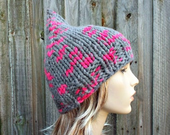 ef7c2593000 Grey and Pink Knit Hat Grey Womens Hat - Grey Pink Gnome Hat - Grey Hat  Grey Gnome Hat Grey Winter Hat Knit Hat Women - READY TO SHIP