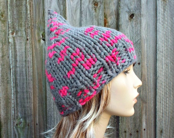 Grey and Pink Knit Hat Grey Womens Hat - Grey Pink Gnome Hat - Grey Hat Grey Gnome Hat Grey Winter Hat Knit Hat Women - READY TO SHIP