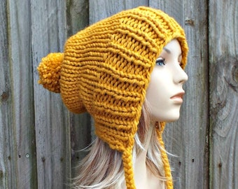 Chunky Knit Hat with Pom Pom, Womens Hat, Mens Hat, Hand Knit Hat, Slouchy Beanie, Winter Hat, Slouchy Knit Hat, Knit Accesories