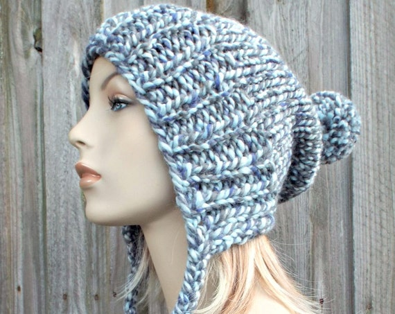 Winter Sky Grey Blue Slouchy Womens Knit Hat - Charlotte Ear Flap Pom Pom Beanie