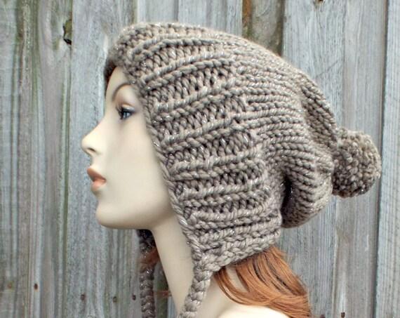 Gemstone Metallic Taupe Brown Slouchy Womens Knit Hat - Charlotte Ear Flap Pom Pom Beanie - READY TO SHIP