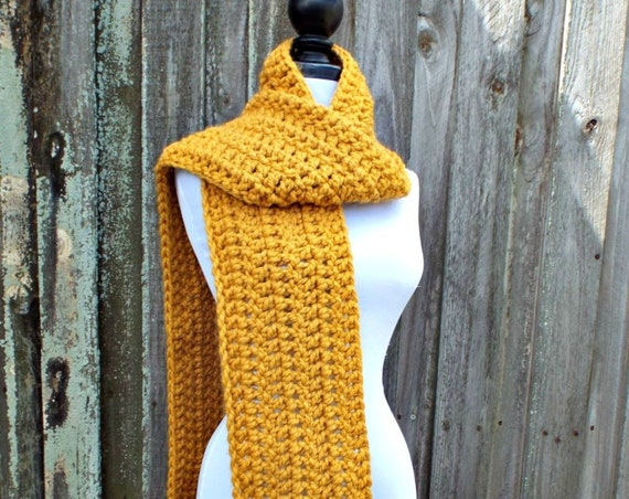 Crochet Chunky Scarf - New Englander Oversized Scarf in Mustard Yellow - Mustard Scarf Yellow Scarf Fall Fashion Womens Accessories