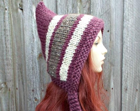 Chunky Knit Womens Hat Adult Pixie Hat - Purple Striped Pixie Ear Flap Hat - Purple Winter Hat Purple Hat - Figgy Pudding Pixie Hat