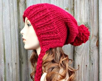 Instant Download Knitting Pattern - Knit Ear Flap Hat Pattern - Knit Hat Pattern - Charlotte Split Brim Slouchy Hat Pattern - Womens Hat