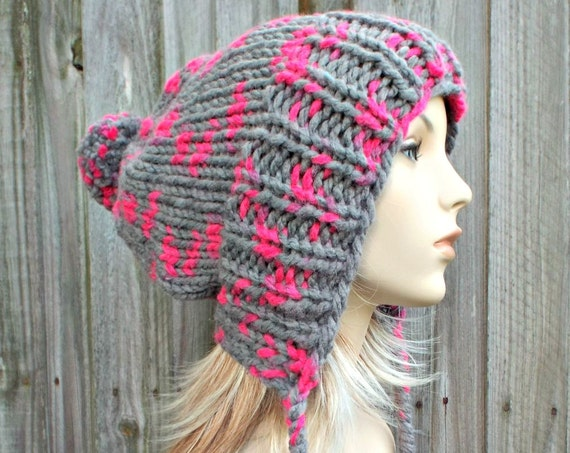 Hot Pink and Grey Ear Flap Slouchy Beanie with Pom Poms - Charlotte - Womens Winter Hat