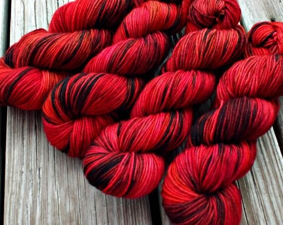 Hand Dyed Yarn - Hand Dyed DK Weight Yarn 100% Superwash Merino Yarn 4 Ply - Red and Black Variegated Yarn - Naughty List