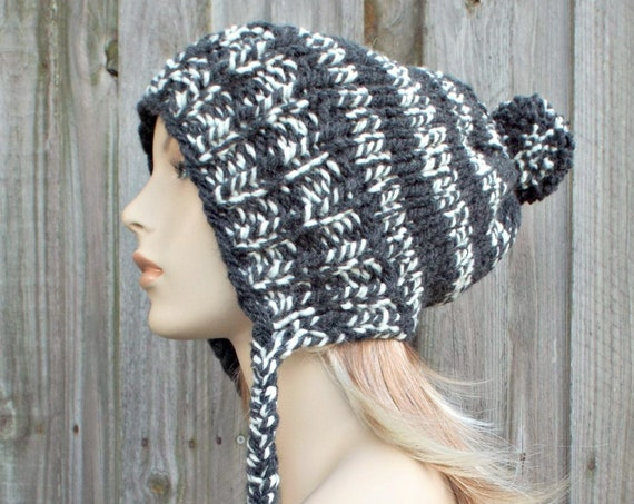 Cream and Charcoal Grey Slouchy Knit Hat Womens Hat - Charlotte Ear Flap Winter Beanie With Pom Pom
