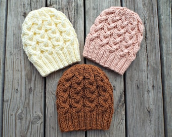 0b3de963a8cd13 Cable Hat Knitting Pattern - Knitted Beanie Pattern - Hawthorne Cable Beanie  Bulky Yarn Knit Hat Pattern - Instant Download