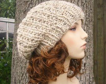 e98a8624aaba0 Knit Hat Oatmeal Womens Hat Slouchy Beanie - Soho Beret in Oatmeal Knit Hat  - Oatmeal Hat Oatmeal Beanie Oatmeal Beret Womens Accessories