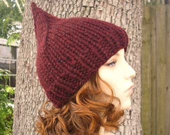 b58d671ae28 Red Knit Hat Red Womens Hat - Red Gnome Hat in Oxblood Wine Red Hat Red  Beanie Womens Accessories Winter Hat